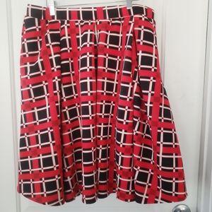 Lularoe Madison skirt red, blk & white check Sz XL